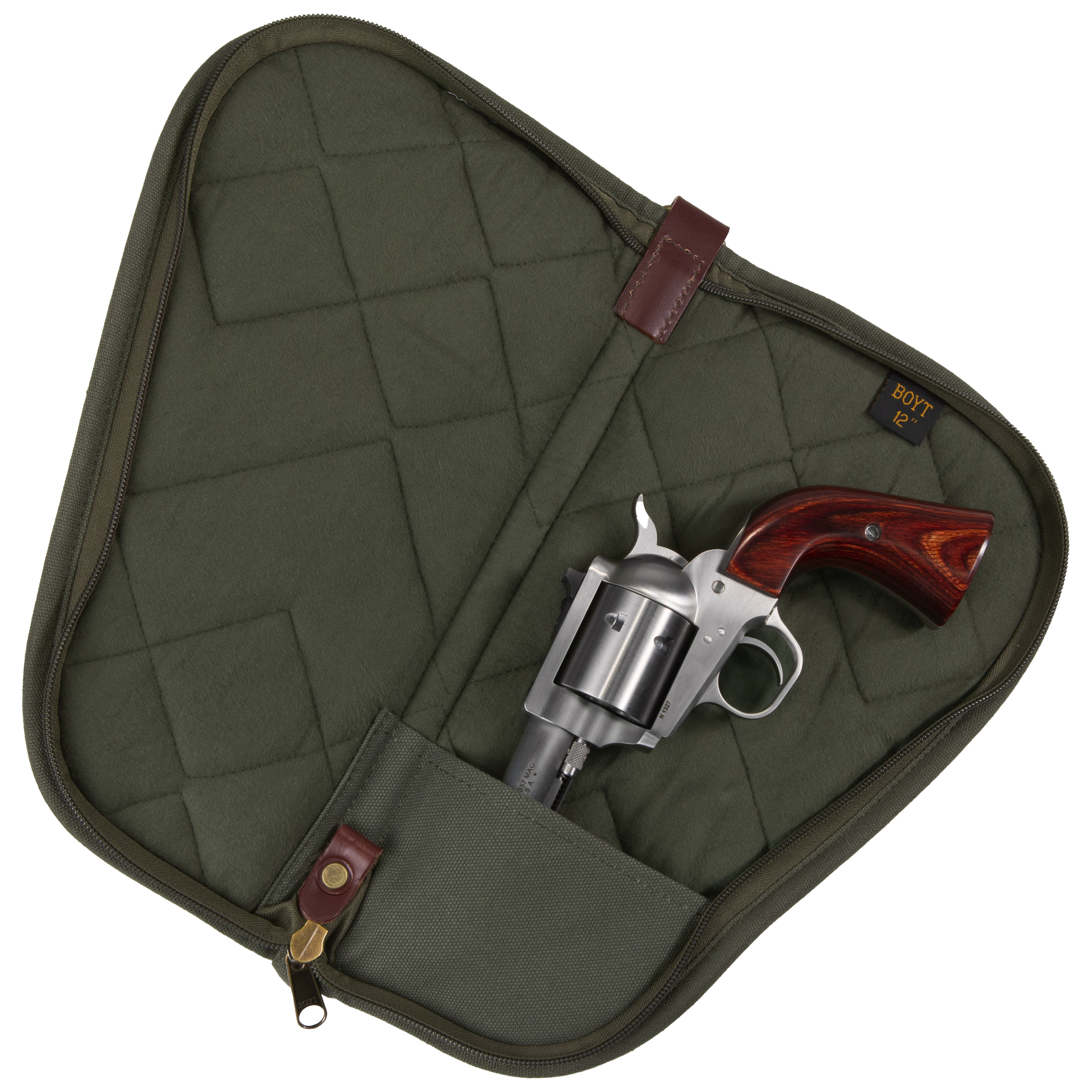 """Details about  /BOYT HARNESS COMPANY HEART-SHAPED HANDGUN CASE WITH POCKETS 12""""-BLACK PP42"""